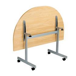 Allegro Tilting Table 1400 X 700 Silver/Oak D-End Top Ref OETT1470DENDSVOK