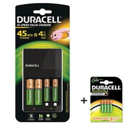 Duracell 45 Minute Battery Charger Hi Speed for NiMH AA/AAA LED Charge Status Indicator Ref 81528873 - FREE Pack of Duracell AAA Batteries (Pack of 4)