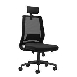 Rome Mesh High Back Chair With Headrest - Black Ref CH7001BKMIRBK