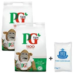 PG Tips Tea Bags Pyramid 1 Cup Ref 67395661 [Pack 1100] - FREE Bag of Tate & Lyle Sugar (2kg)
