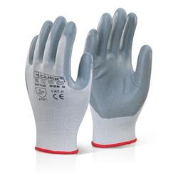 Click2000 Nitrile Foam Nylon Glove Grey 09 Grey Ref NFNG09 [Pack 100]