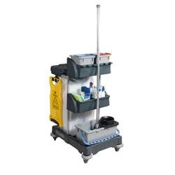 Numatic Janitorial Trolley with 3 Buckets and 2 Tray Units D820xW570xH1060mm Ref XC1/TM
