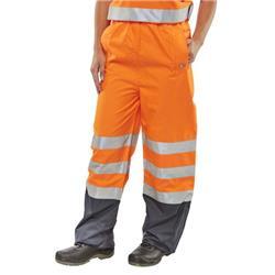 BSeen Belfry Over Trousers Polyester Hi-Vis 2XL Orange/Navy Blue Ref BETORNXXL
