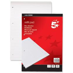 5 Star Office Refill Pad Feint Headbound Ruled with Margin 4-Hole Punched 80 Sheets A4 [Pack 1]