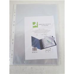 A3 landscape punched pockets , glossy , top opening.