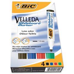 Bic Velleda 1701/1704 Whiteboard Marker Bullet Tip Line Width 1.5mm Assorted Ref 1199001704 [Pack 4]