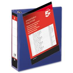 5 Star Office Presentation Binder Poly 4 D-Ring 65mm A4 Blue Pack 10