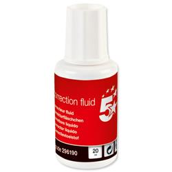 5 Star Office Correction Fluid Fast-drying with Integral Mixer Ball 20ml White [Pack 10]