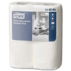 Tork Kitchen Towels Extra Absorbent Recycled 2-ply 230x240mm 64 Sheets per Roll White Ref 120269 [Pack 2]