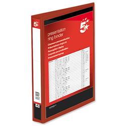 5 Star Office Presentation Ring Binder Polypropylene 4 D-Ring 25mm Size A4 Red [Pack 10]