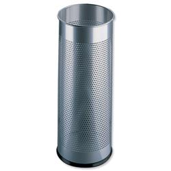 Durable Umbrella Stand Tubular Metal Perforated 28.5 Litres 280x635mm Silver Ref 3350/23