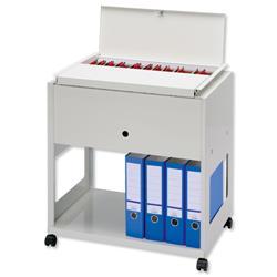 Filing Trolley Lockable Lid Steel Capacity 120 A4 or Foolscap Files Grey