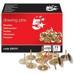 5 Star Office Brassed Drawing Pins of 11mm Head Diameter [Pack 150]