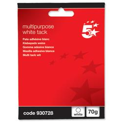 5 Star Office Multipurpose Tack Adhesive Re-usable Non-toxic 70g White [Pack 12]