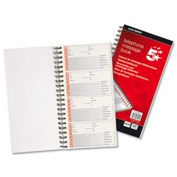 5 Star Office Telephone Message Book Wirebound Carbonless 320 Notes 80 Pages 279x152mm