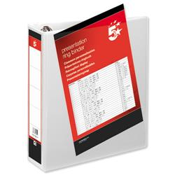 5 Star Office Presentation Ring Binder Polypropylene 4 D-Ring 50mm Size A4 White [Pack 10]