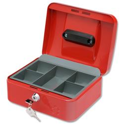 5 Star Facilities Cash Box with 5-compartment Tray Steel Spring Lock