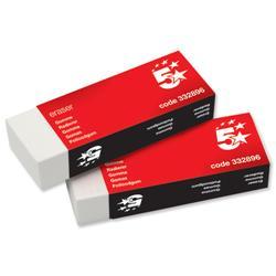 5 Star Office Plastic Eraser Paper-sleeved 60x21x12mm [Pack 10]