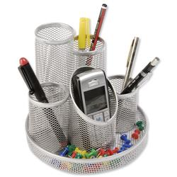 Pencil Pot Mesh Scratch Resistant with Non Marking Base 5 Tube Silver