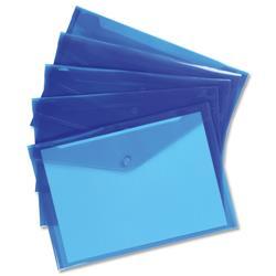 5 Star Office Envelope Stud Wallet Polypropylene A4 Translucent Blue Pack 5