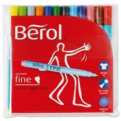 Berol Colour Fine Pen Medium 0.6mm line width 12 Assorted Colours Ref S0376510 - Wallet 12
