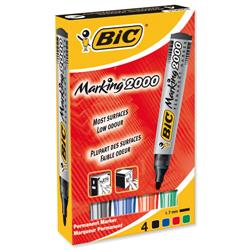 Bic Marking 2000 Permanent Marker Bullet Tip Line Width 1.7mm Assorted Ref 820911 - Pack 4