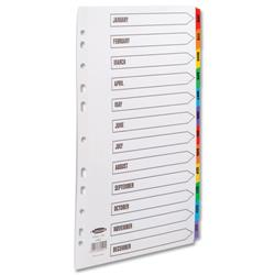 Concord Commercial Index Jan-Dec Multipunched Mylar-reinforced Multicolour-Tabs 160gsm A4 White Ref 69401