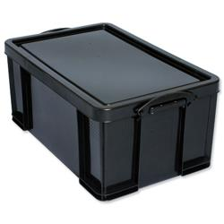 64 L Really Useful Storage Box Plastic Recycled Robust Stackable 64 Litre W440xD710xH310mm Black Ref 64L