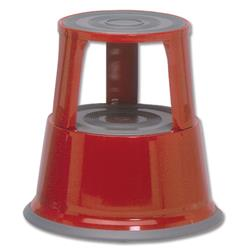 5 Star Facilities Step Stool Mobile Spring-loaded Castors Max 150kg Top D290xH430xBase D435mm 5kg Red
