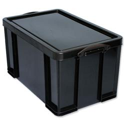 84 L Really Useful Storage Box Plastic Recycled Robust Stackable 84 Litre W444xD710xH380mm Black Ref 84L