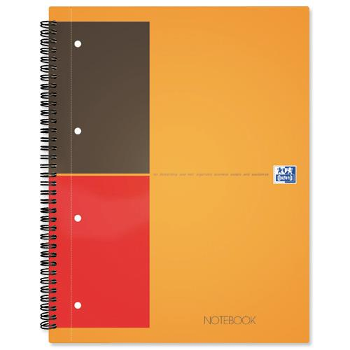 Oxford International Notepad Ruled Perforated 160pp A4 Orange//Grey Pack 5