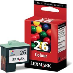 Lexmark No. 26 Inkjet Cartridge Page Life 275pp Colour Ref 10N0026