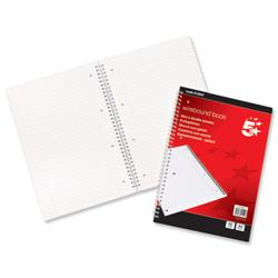 5 Star Office Notebook Wirebound Ruled and Margin Perforated 100 Pages A4 [Pack 10]