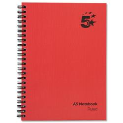 5 Star Office Manuscript Book Wirebound 70gsm Ruled 160 Pages A5 [Pack 5]