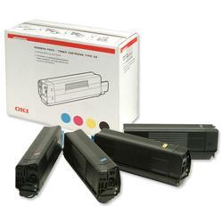 Oki C5300 Laser Toner Cartridge Rainbow Pack Page Life 5000pp C/M/Y/K Ref 42403002 [Pack 4]