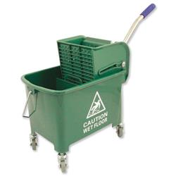 Mop Bucket Mobile Colour Coded with Handle 4 Castors 20 Litre Green
