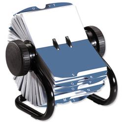 Rolodex Classic 200 Rotary Business Card Index File with 200 Sleeves 24 A-Z Index Tabs Black Ref 67236