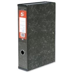 5 Star Office Box File 75mm Spine Lock Spring Foolscap Marbled - Pack 10