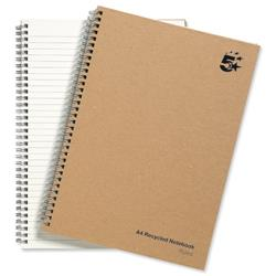 5 Star Eco Notebook Wirebound Hard Cover Recycled 80gsm A4 Manilla [Pack 5]