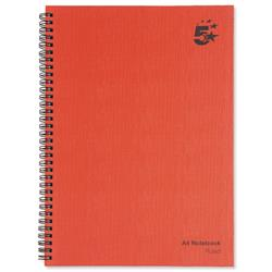 5 Star Office Manuscript Book Wirebound Ruled 160 Pages A4 [Pack 5]