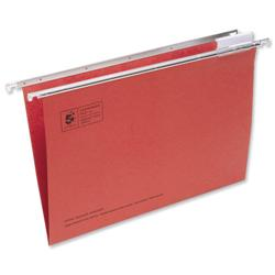 5 Star Office Suspension File Manilla with Tabs and Inserts Foolscap Red [Pack 50]