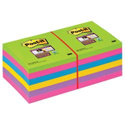 Post-it Super Sticky Removable Notes Pad 90 Sheets 76x76mm Ultra Assorted Ref 654-12SSUC - Pack 12
