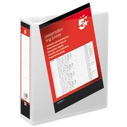 5 Star Office Presentation Ring Binder Polypropylene 2 D-Ring 50mm Size A4 White [Pack 10]