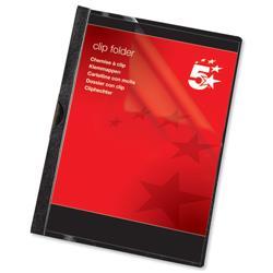 5 Star Office Clip Folder 3mm Spine for 30 Sheets A4 Black [Pack 25]