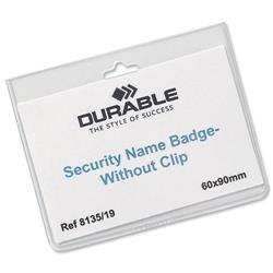 Durable Name Badges Security Without Clip 60x90mm Ref 813519 - Pack 20