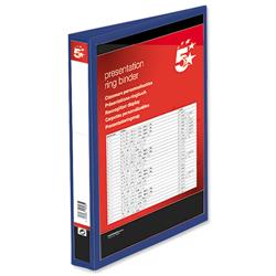 5 Star Office Presentation Binder Poly D-Ring 38mm A4 Blue Pack 10