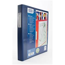 Elba Vision Ring Binder PVC Clear Front Pocket 4 O-Ring A3 Portrait Blue Ref 400009731 [Pack 2]