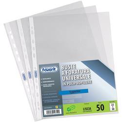 Buste a foratura universale Linear Favorit - 22x30 cm - goffrata - spessore medio - trasparente - conf. 100