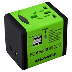 Swordfish VariPlug Dual USB Travel Adaptor (Green) - 40255