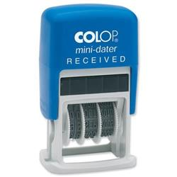 Colop S160/L1 Mini Text Dater Stamp RECEIVED 12 Years Self-Inking Imprint 25x12mm (Red/Blue Ink) Ref 105241